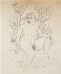 weiblicher akt beim bade by hans grundig