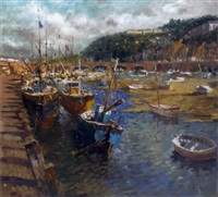 vessels at low tide, looe, cornwall by john ambrose