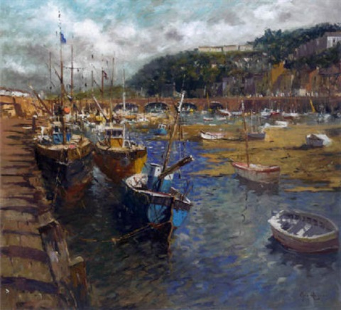 vessels at low tide looe cornwall by john ambrose