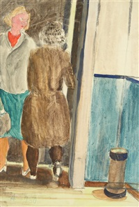 untitled (figures in the doorway) (double-sided) by alexander arefiev