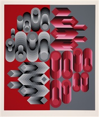 composition rose et grise by victor vasarely