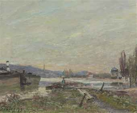 bords de seine by alfred sisley