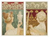 sculptress and the painter (pair) by henri privat-livemont