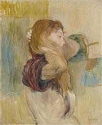 jeune femme relevant ses cheveux by berthe morisot