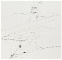 dog and fireplace by david hockney