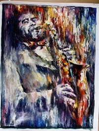 saxophone player by leonid afremov