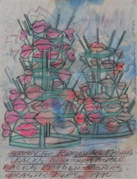 study for revolving kissing racks (study) by dennis oppenheim