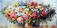 spring flower arrangement with roses by leonid afremov