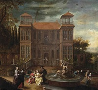 an elegant company making merry by a fountain in front of a house by cornelis de wael