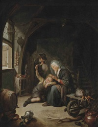 a woman deloucing a child by gerrit dou