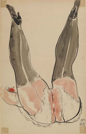 woman with black silk stockings by sanyu