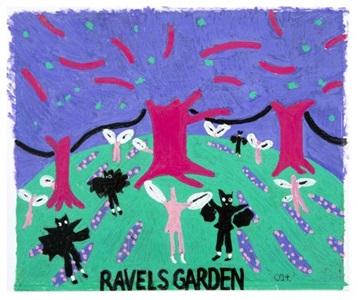 ravels garden with night glow v ii by david hockney