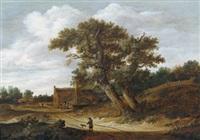 bewaldete flusslandschaft mit einem jäger und seinen hunden auf einem pfad by salomon rombouts