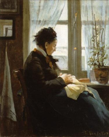 Vieille femme cousant devant la fen tre von florimond for Devant la fenetre