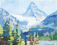 untitled - mount assiniboine from sunburst lake by carl clemens moritz rungius