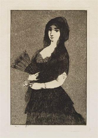 fleur exotique la femme a la mantille from sonnets et eaux fortes by édouard manet