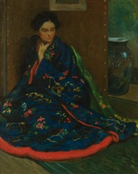 seated woman in a kimono by william chadwick