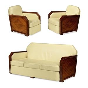 sofa und zwei fauteuils art déco frankreich um 1930