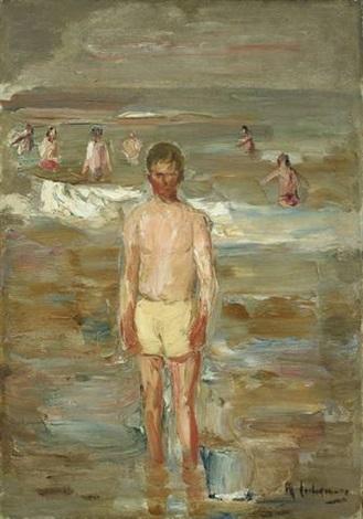 stehender knabe am strande by max liebermann