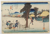 oban yoko-e, série tokaido gojusan no uchi, station 51 minakuchi, traversée du village avec femmes travaillant des gourdes by ando hiroshige