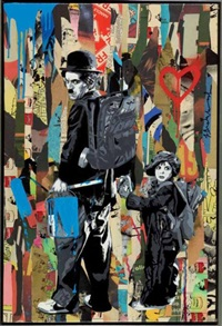 chaplin & the kid by mr. brainwash