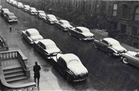 white cars, west 88th street, new york city, 1950 by ruth orkin