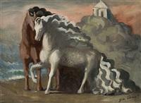 due cavalli antichi in riva al mare by giorgio morandi