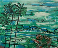 landscape with wet rice fields by arie smit