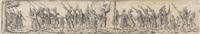 marschierende soldaten, in der mitte ein fahnenträger (after j. amman) by johann theodor de bry