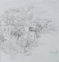 blick auf häuser am hang auf capri (dbl-sided) by heinrich gärtner
