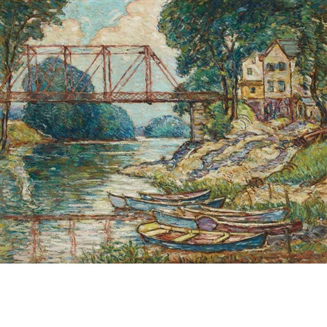 the red bridge, new paltz, new york by reynolds beal