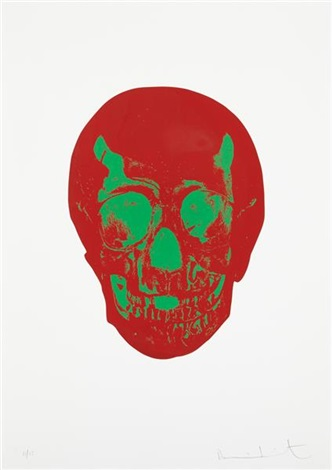 chili red/lime green skull (from the dead series) by damien hirst
