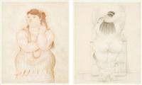 femme au fume/ femme devant le miroir (set of 2) by fernando botero