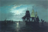 shipping off constantinople in moonlight by emile valentin