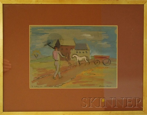 landscape with horse drawn wagon and walking man with rake sketch by herman maril