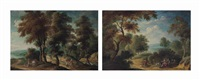 a wooded landscape with figures at rest and a wooded landscape with travelers on a track (pair) by isaac van oosten
