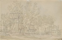 von bäumen umgebenes dorf mit fachwerkturm by peter becker