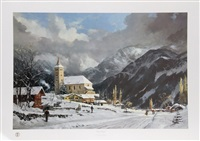winter chapel by thomas kinkade