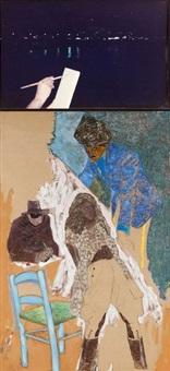 le peintre nocturne ii (+ le fakir, mixed media on canvas, lrgr; 2 works) by jean le gac