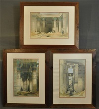 view under the grand portico, philae; grand portico of the temple of philae, nubia; karnac (transverse view across the hall of columns) (3 works) by david roberts