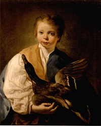 a young boy holding a mallard drake by giuseppe angeli