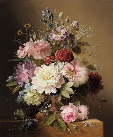 still life with peonies rhodedendran auricula roses and summer flowers in an urn on a marble ledge by arnoldus bloemers