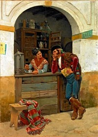 scene from a street café by enrique rumoroso y valdes