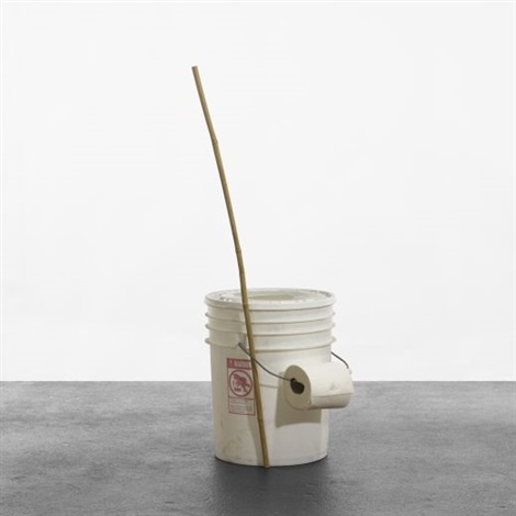 portable toilet and bamboo stickpencil set by jason rhoades