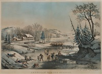 american winter scenes. morning by nathaniel currier