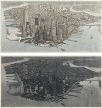 manhattan view, battery park (+ manhattan view, battery park, night; 2 works) by richard haas
