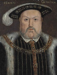 portrait of king henry viii (1491-1547), bust-length, in a fur-lined cloak and gold-brocade doublet, with a chain and feathered black hat by hans holbein the younger