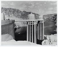 towers at the boulder dam, first filling by julius shulman