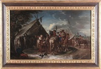 viandante al guado accampamento militare (pair) by pieter van bloemen