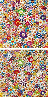 flowers, flowers, flowers; if i could reach that field of flowers, i would die happy (set of 2) by takashi murakami